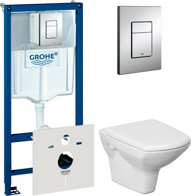 Комплект Инсталляция Grohe Rapid SL 4 в 1 с кнопкой хром + Унитаз Cersanit Carina new clean on